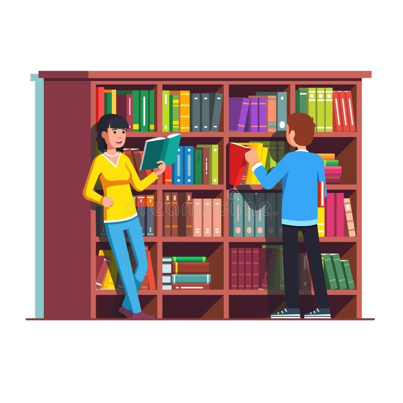 Twee mensen die zich voor houten boekenkast bevinden royalty-vrije illustratie