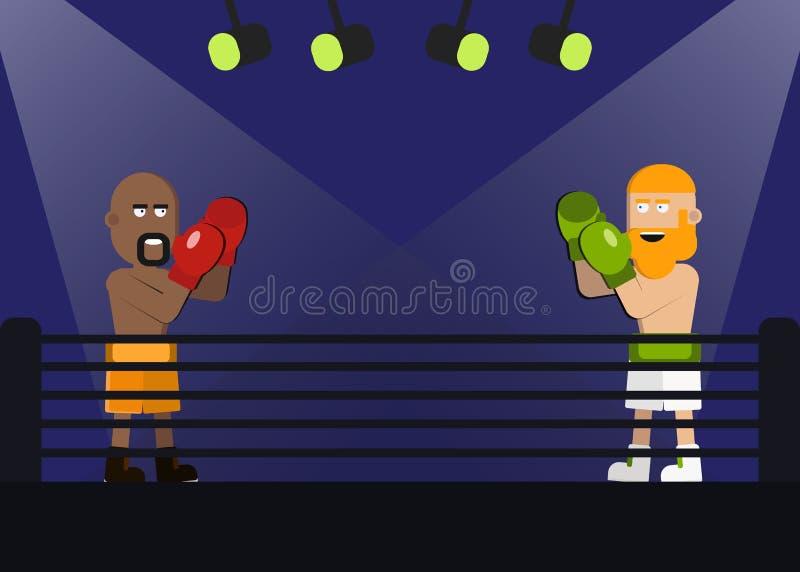 Twee mensen doen in dozen strijd die elkaar in gelijke onder ogen zien Bokser in gele borrels en de bokser in witte broeken met g vector illustratie