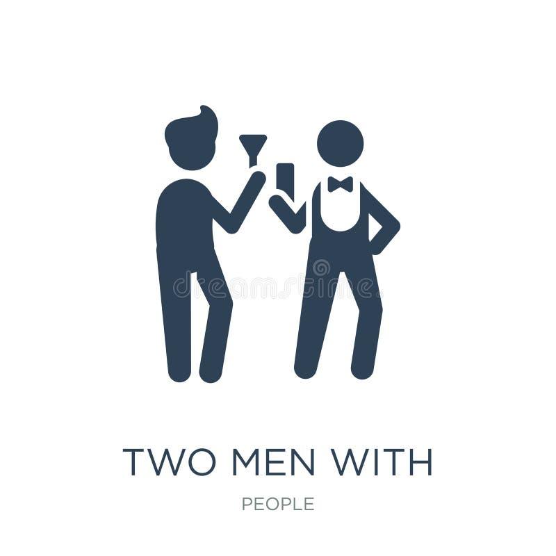 twee mensen met het pictogram van cocktailglazen in in ontwerpstijl twee mensen met het pictogram van cocktailglazen die op witte vector illustratie