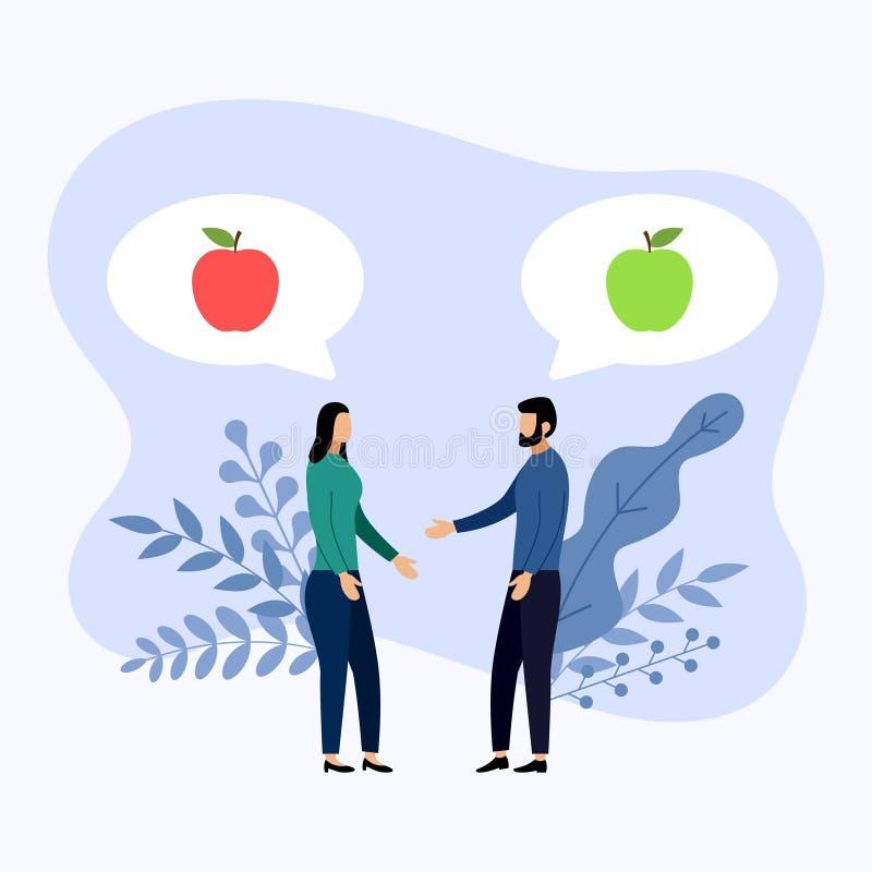 Twee mensen spreken over rode appelen en groene appelen royalty-vrije illustratie