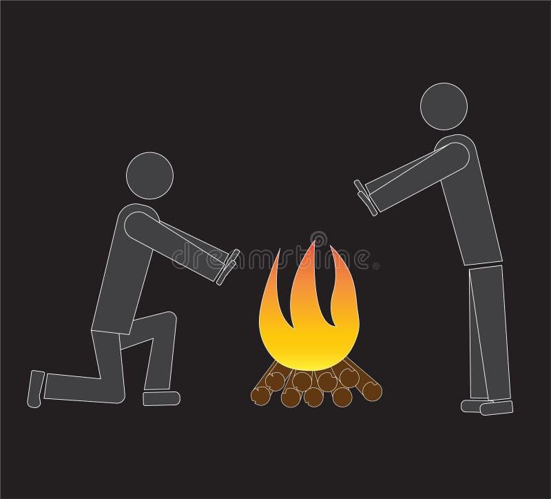 Twee mensen verwarmen zich dichtbij de brand vector illustratie