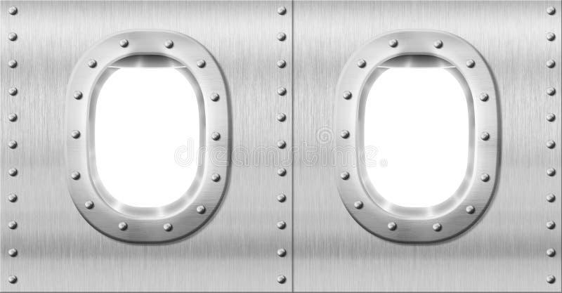 Twee metaalpatrijspoorten of vensters stock afbeeldingen