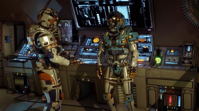 Twee militairen van de toekomst die op een ruimteschip debatteren het 3d teruggeven vector illustratie