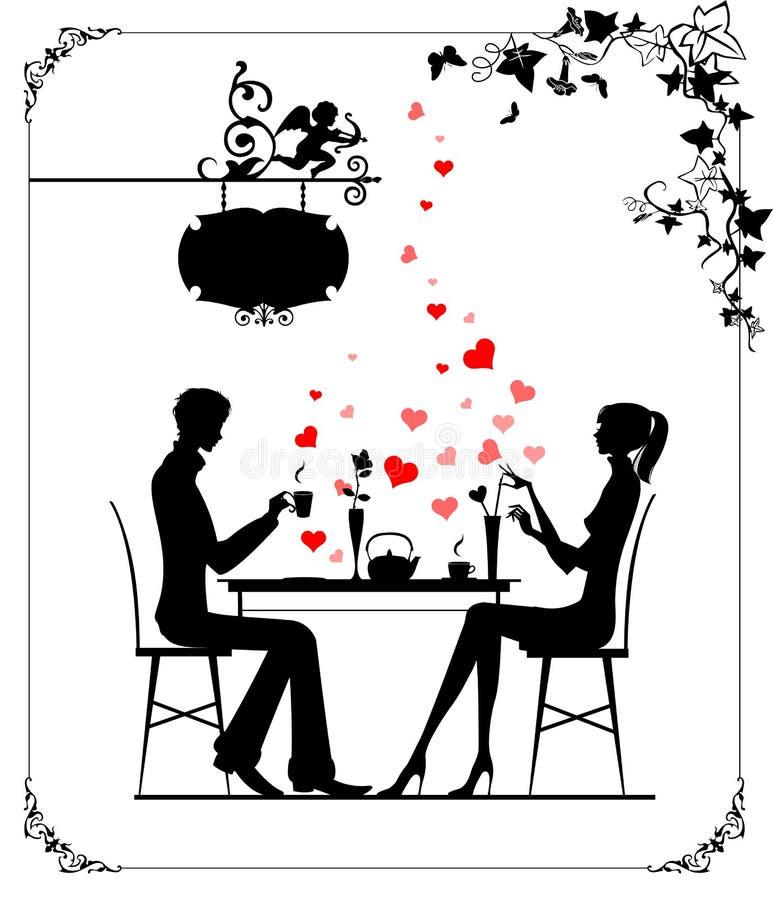 Twee minnaars in de koffie stock illustratie
