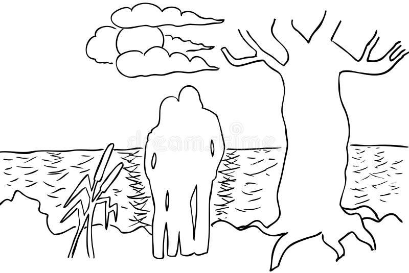 Twee minnaars op de kust royalty-vrije illustratie