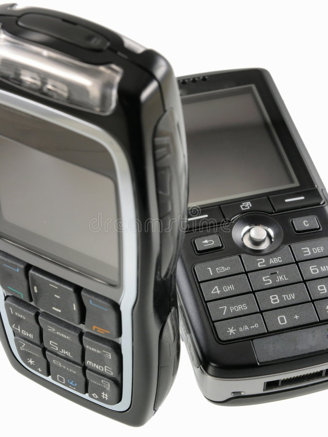 Twee mobiele telefoons royalty-vrije stock foto