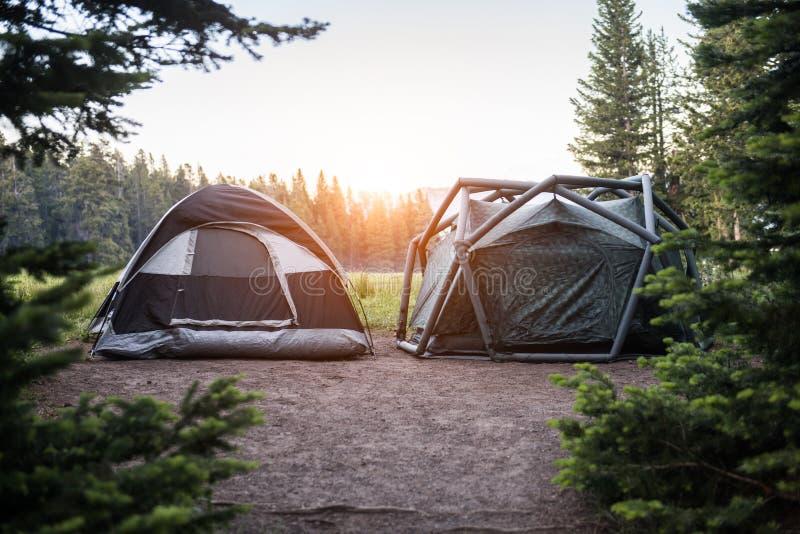 Twee moderne tenten op kampeerterrein in het Nationale park van Yellowstone in zonsondergangtijd stock foto's