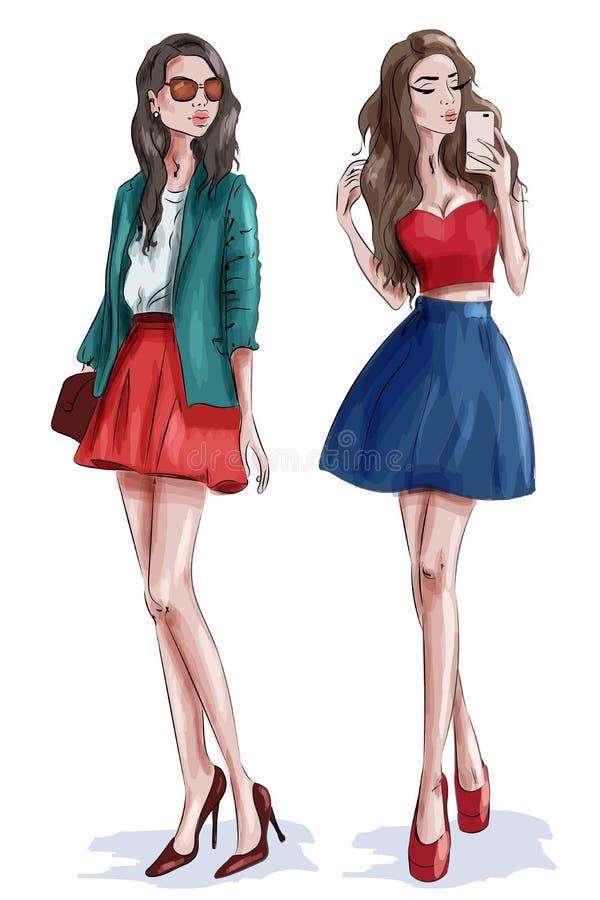 Twee modieuze mooie meisjes met toebehoren Vrouwen in manierkleren schets stock illustratie
