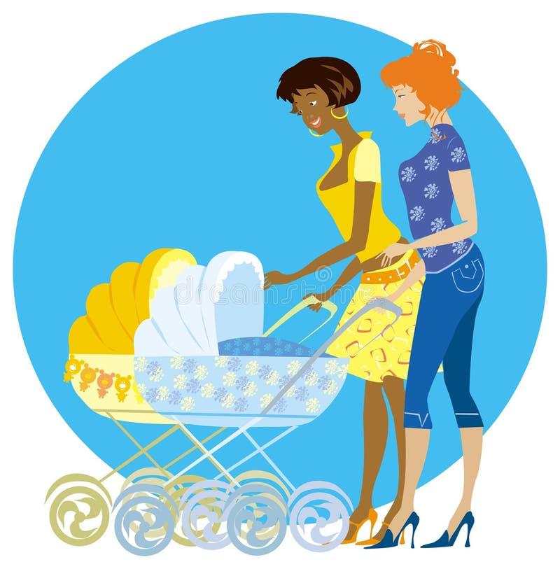 Twee moeders genieten van pasgeborenen vector illustratie