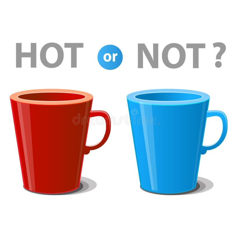 Twee mokken illustreerden hete en koude dranken stock illustratie