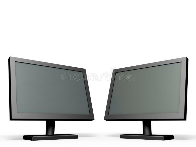 Twee monitors. royalty-vrije illustratie