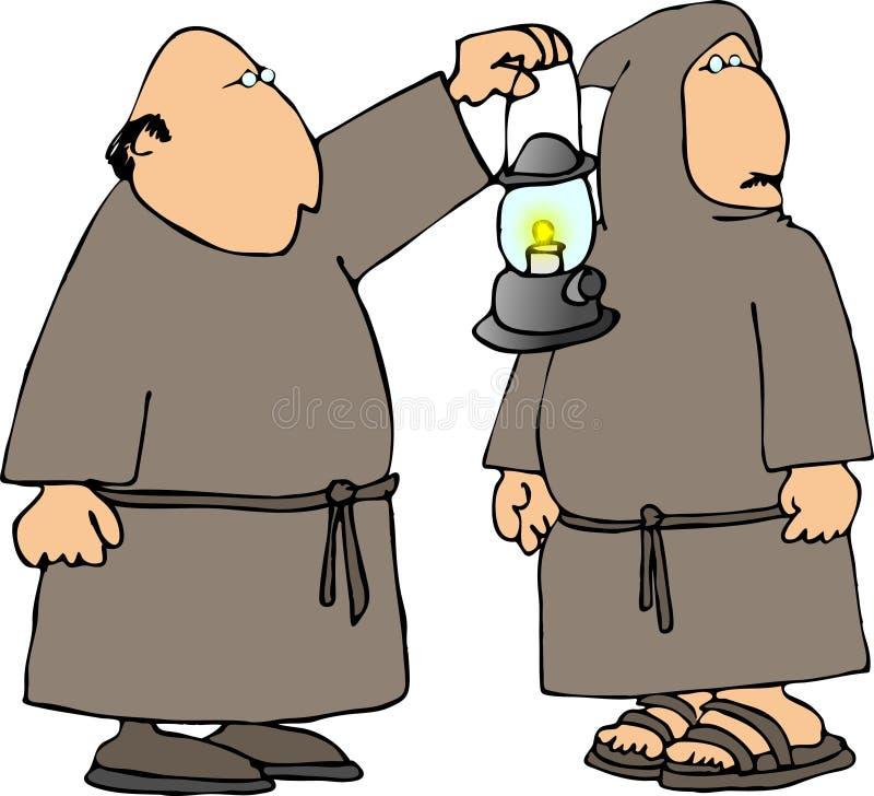 Twee monniken in robes stock illustratie