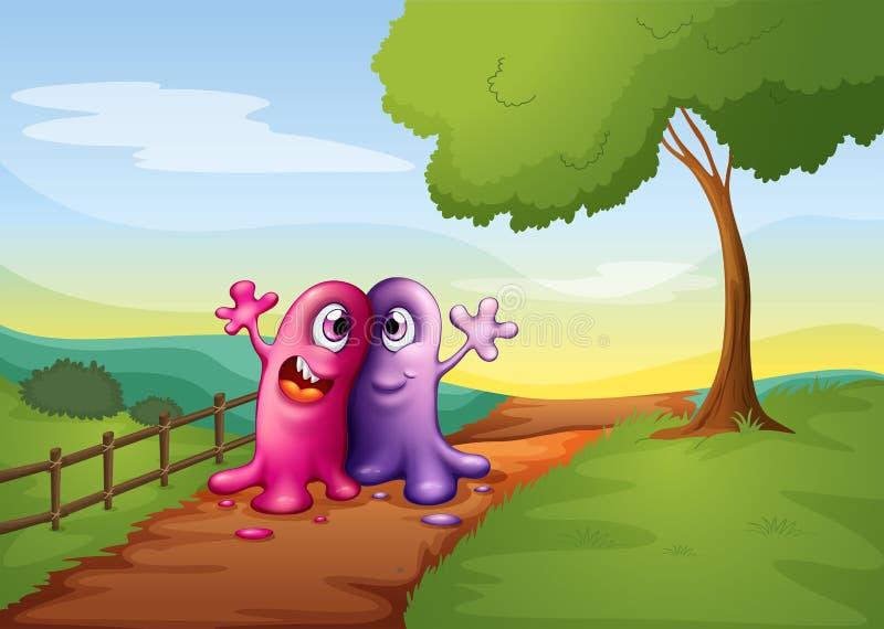 Twee monsters die bij de weg in de heuveltop lopen stock illustratie