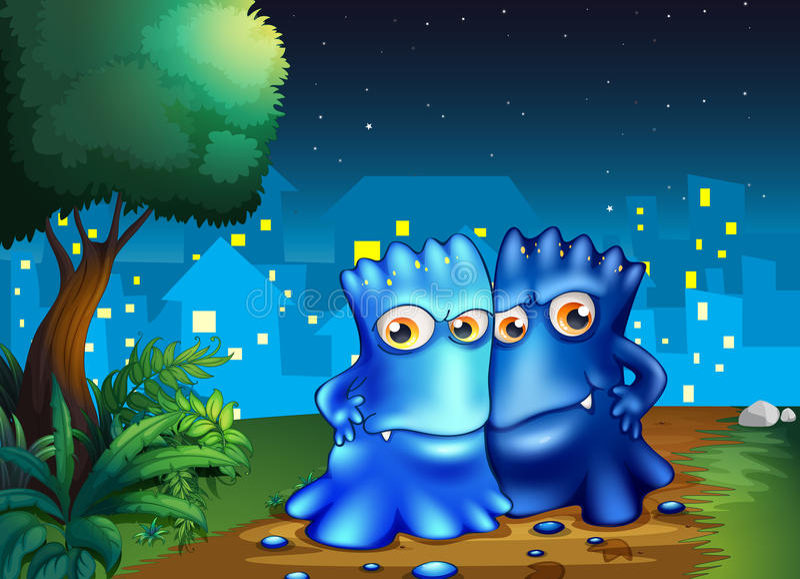 Twee monsters die in het midden van de nacht wandelen vector illustratie