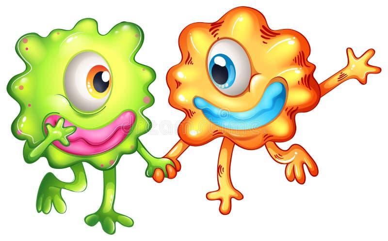 Twee monsters gelukkig van hun samenhorigheid stock illustratie