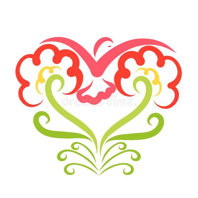 Twee mooie bloemen en een vogel leiden tot één hart vector illustratie
