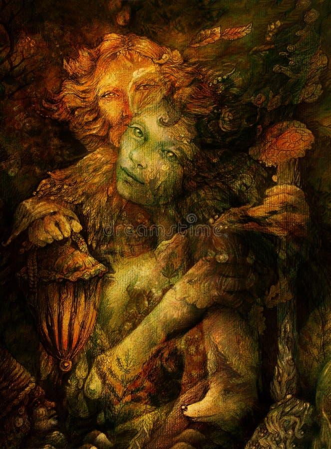 Twee mooie boswezens, kleurrijke gedetailleerde illustratie stock afbeelding