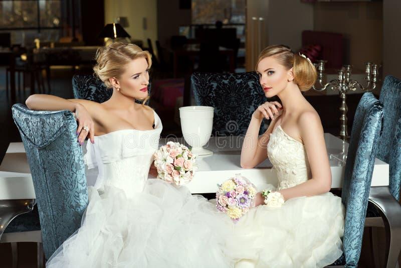 Twee mooie bruiden stock afbeeldingen