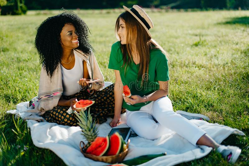 Twee mooie charmante multi-rasmeisjes met natuurlijke samenstelling en mooie glimlach die pret op de picknick hebben terwijl stock fotografie