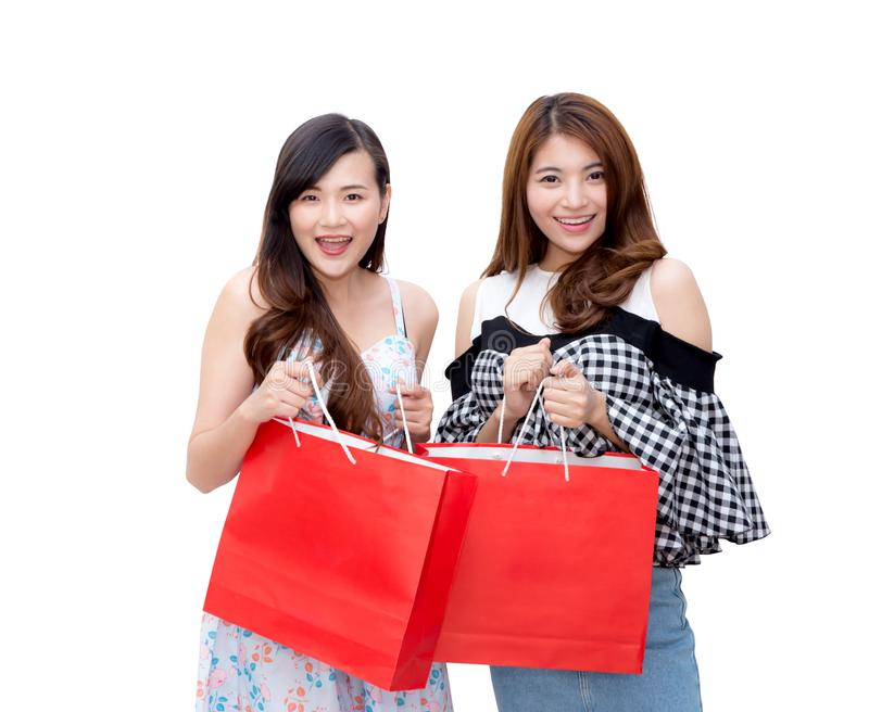 Twee mooie glimlachende Aziatische jonge vrouwen met het winkelen geïsoleerde verkoopzakken royalty-vrije stock afbeelding