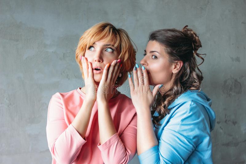 Twee mooie grappige jonge vrouwen echte vrienden in toevallige kleding vertellen elkaar vreselijke geheimen op concrete muurachte stock fotografie