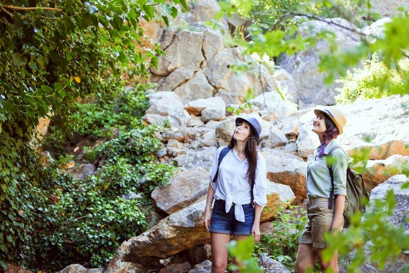Twee mooie jonge meisjes reizen in de bergen en genieten van de mening van het landschap van groene bomen royalty-vrije stock afbeeldingen
