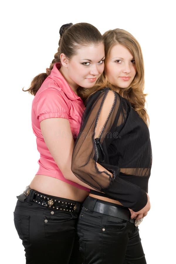 Twee mooie jonge vrouwen stock foto