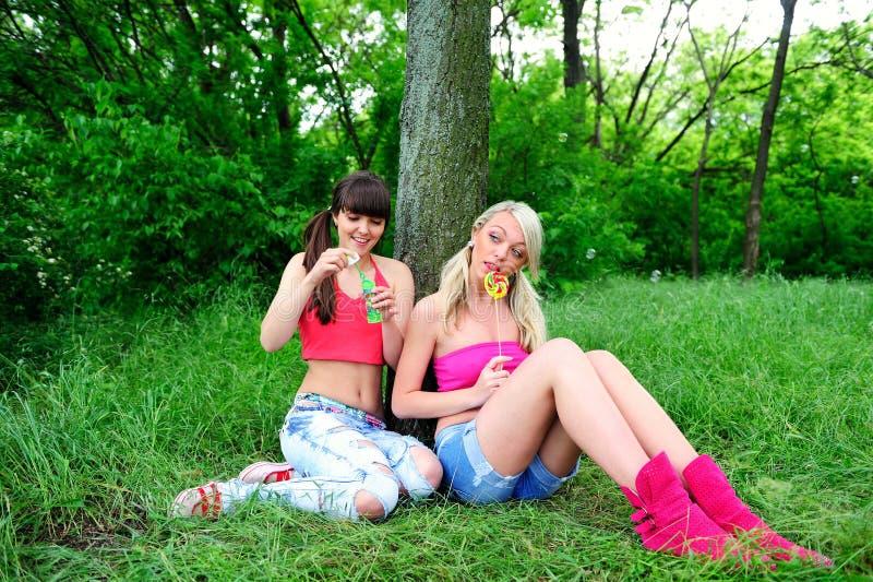 Twee mooie jonge vrouwenvrienden. royalty-vrije stock foto