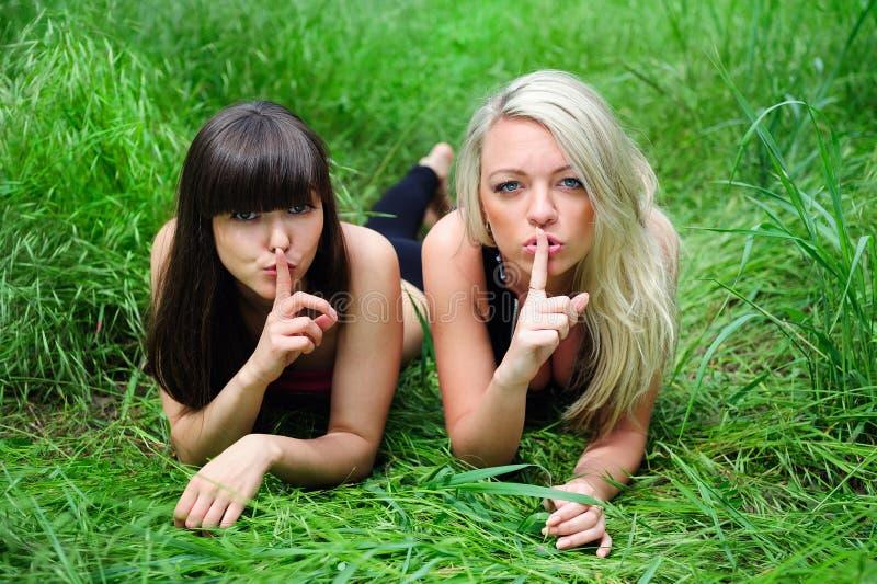 Twee mooie jonge vrouwenvrienden. royalty-vrije stock foto's