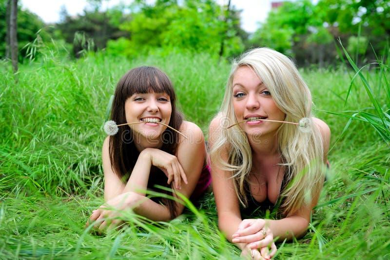 Twee mooie jonge vrouwenvrienden. royalty-vrije stock afbeelding
