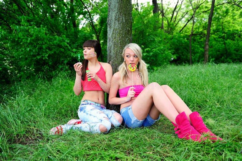Twee mooie jonge vrouwenvrienden. stock afbeelding
