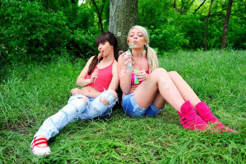 Twee mooie jonge vrouwenvrienden. stock afbeeldingen