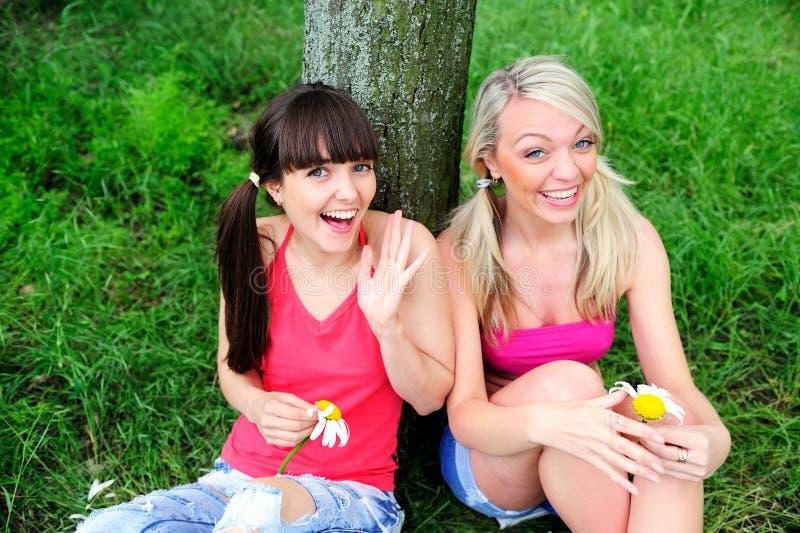 Twee mooie jonge vrouwenvrienden. stock fotografie