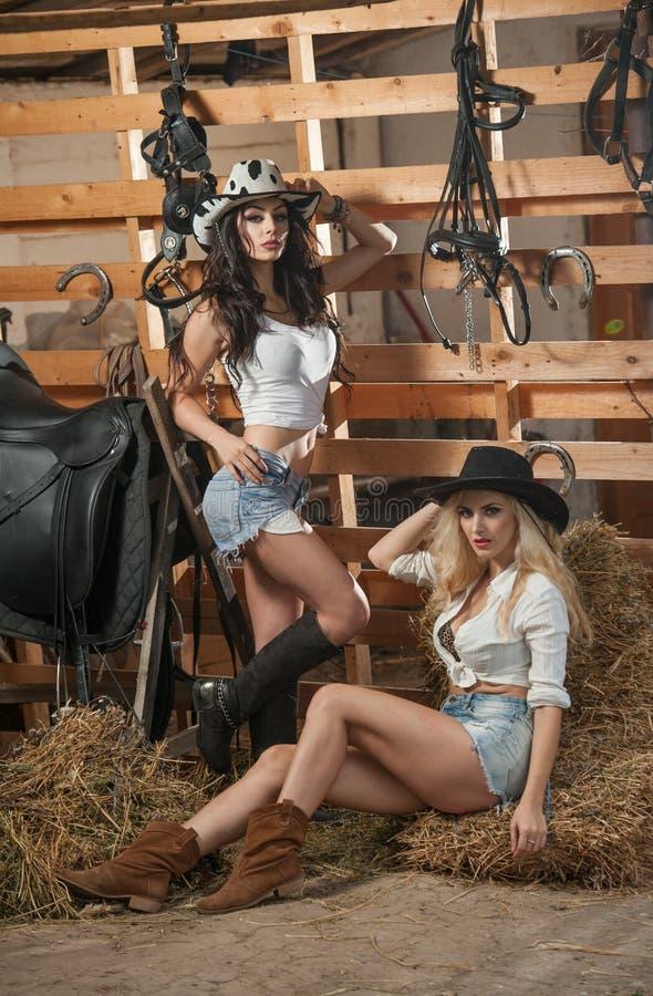 Twee mooie meisjes, blonde en brunette, met land kijken, binnen geschoten in stabiele, rustieke stijl Aantrekkelijke vrouwen met  stock afbeelding
