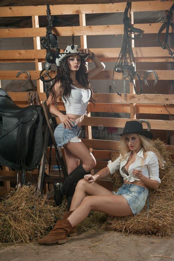 Twee mooie meisjes, blonde en brunette, met land kijken, binnen geschoten in stabiele, rustieke stijl Aantrekkelijke vrouwen met  royalty-vrije stock foto