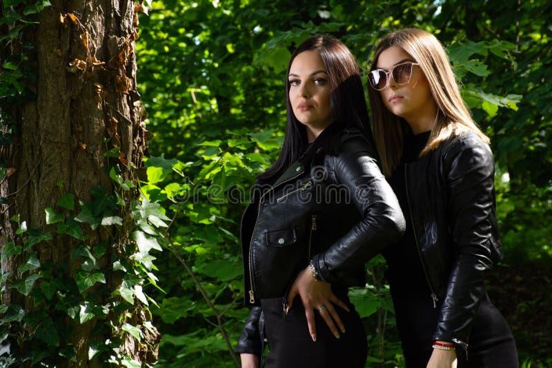 Twee mooie meisjes die in een bos op een zonnige de lentedag stellen stock afbeelding