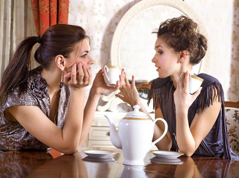 Twee mooie meisjes drinken thee stock afbeelding