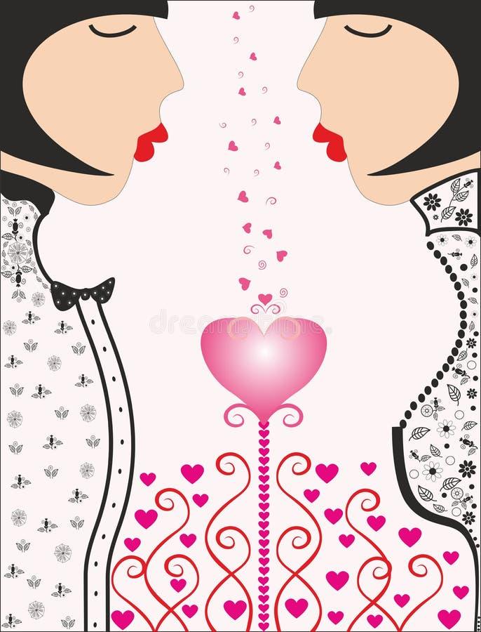 Twee mooie meisjes Roze heart.love stock illustratie