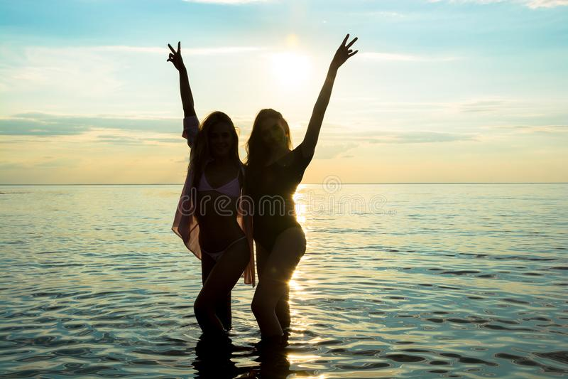 Twee Meisjes Die Samen Op Het Strand Lopen Stock