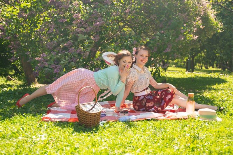 Twee mooie meisjesvrienden die op de rode deken op het groene gras zitten en hebben de zomerpicknick gelukkige vrouw die rust en  royalty-vrije stock afbeeldingen