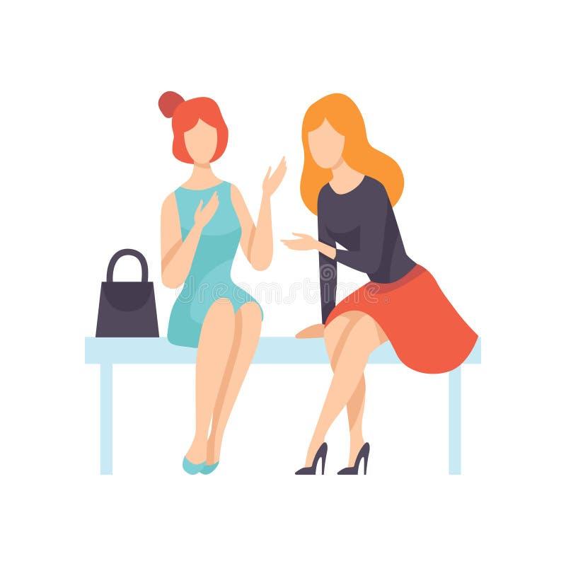 Twee Mooie op Bank zitten en Vrouwenvrienden die, Vrouwelijke Vriendschaps Vectorillustratie spreken royalty-vrije illustratie