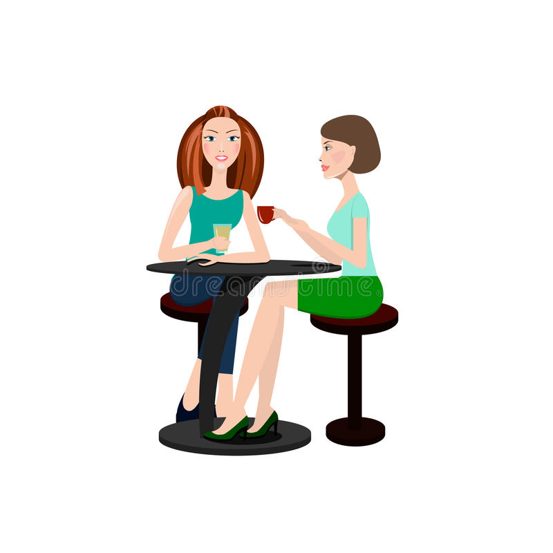 Twee mooie vrouwen die in een koffie zitten vector illustratie