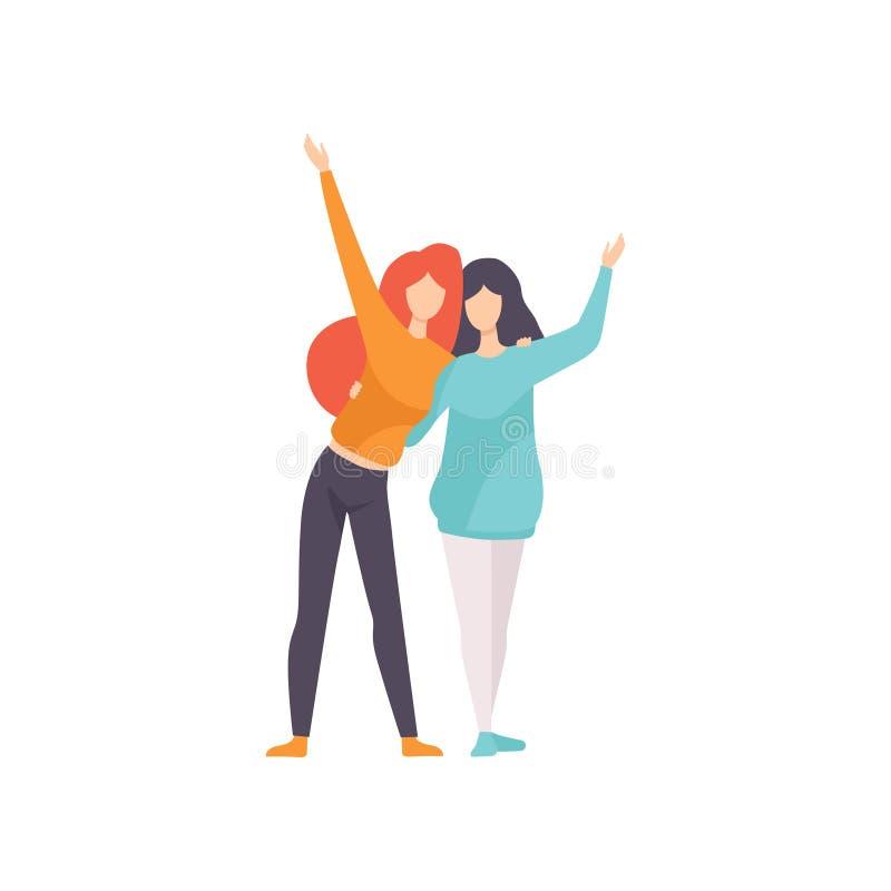 Twee Mooie Vrouwenvrienden die en Hun Handen, Vrouwelijke Vriendschaps Vectorillustratie koesteren golven stock illustratie