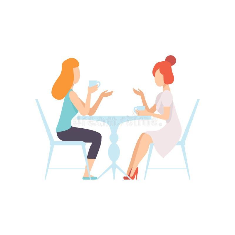 Twee Mooie Vrouwenvrienden die in Koffie, Vrouwelijke Vriendschaps Vectorillustratie zitten stock illustratie