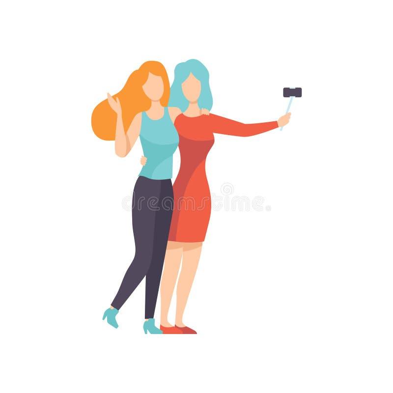Twee Mooie Vrouwenvrienden die Zelffoto, Vrouwelijke Vriendschaps Vectorillustratie maken vector illustratie