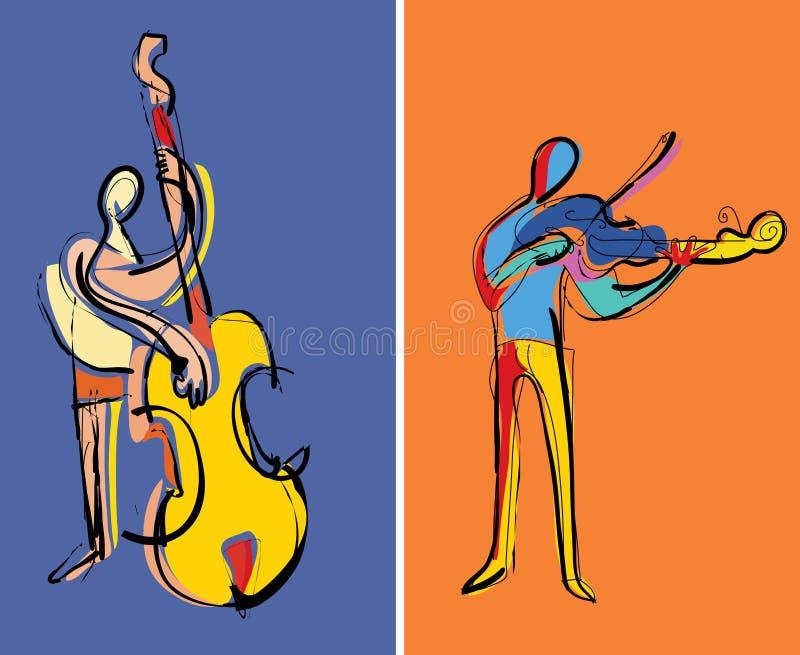 Twee musici het spelen stock illustratie