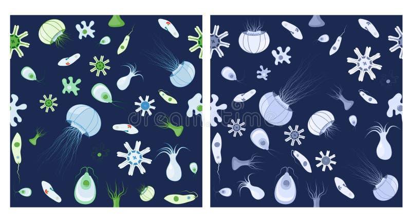 Twee naadloze patronen Achtergrond met kwallen, amoebe, Paramecium en andere dieren stock illustratie