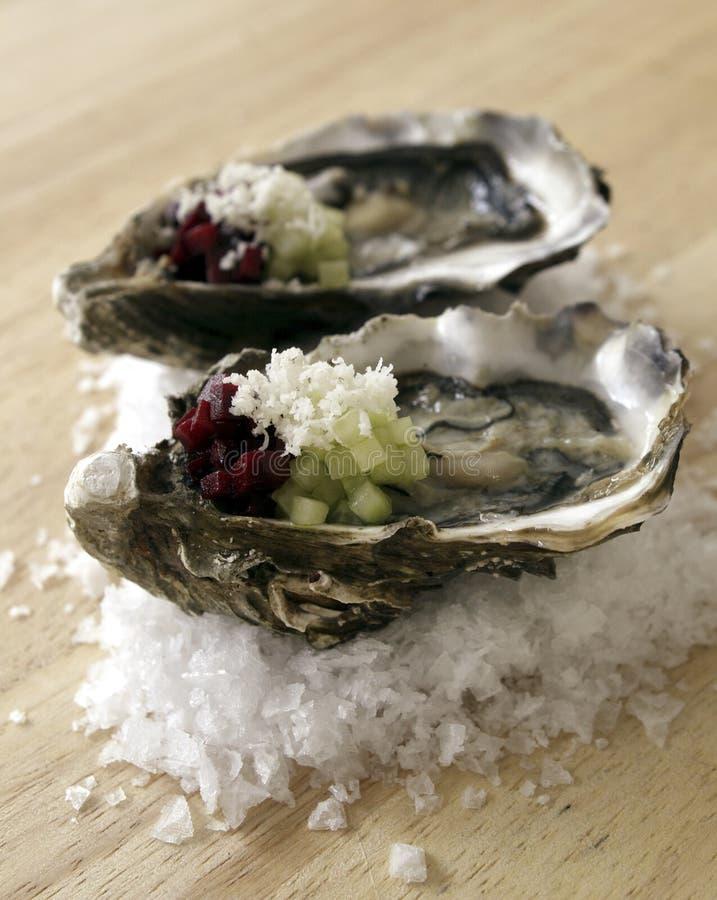 Twee oesters. royalty-vrije stock afbeeldingen