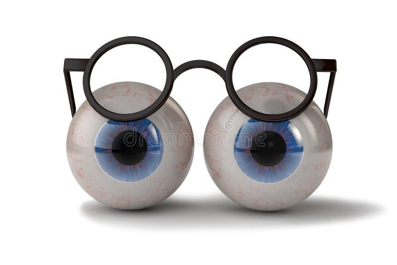 Twee ogen met glazen stock illustratie