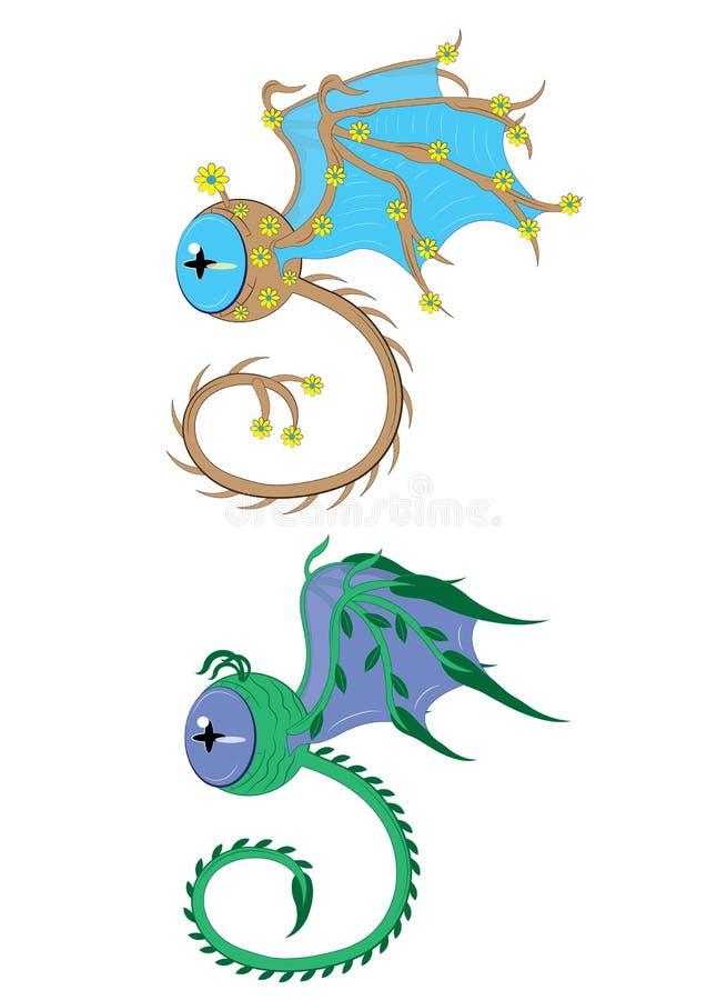 Twee ogen met vleugels een boom en een gras royalty-vrije illustratie